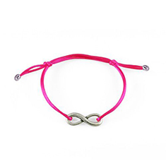 Armband Infinity Hot Pink silver - zilver kleur