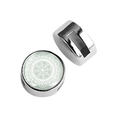 Cuoio slider small platte cabochon mandala light greenish grey