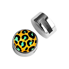 Cuoio slider small platte cabochon leopard gold turquoise