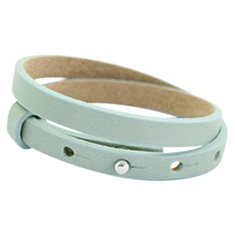 Cuoio armbanden leer 8 mm dubbel voor 12 mm cabochon Soft sky blue