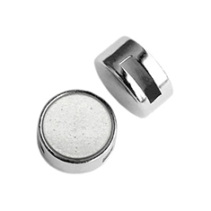Cuoio slider small platte cabochon Super Polaris Light Cloudy Grey