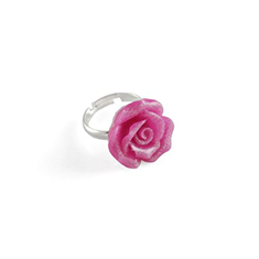 Roos ring roze glitter