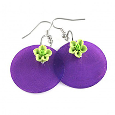 Color Blocking Purple Green oorbellen