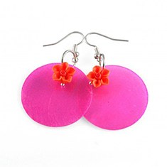 Color Blocking Hot Pink Orange oorbellen