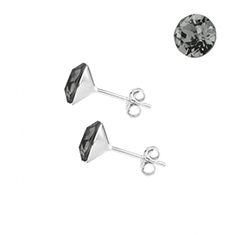 Oorstekers sterling zilver met Swarovski Black Diamond 6mm