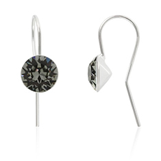 Oorbellen sterling zilver met Swarovski Black Diamond 8mm