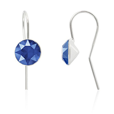 Oorbellen sterling zilver met Swarovski Crystal Royal Blue 8mm
