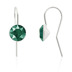 Oorbellen sterling zilver met Swarovski Crystal Royal Green 8mm