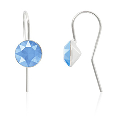 Oorbellen sterling zilver met Swarovski Crystal Summer Blue 8mm