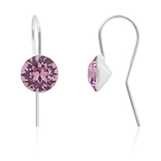 Oorbellen sterling zilver met Swarovski Light Rose 8mm