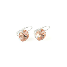 Oorhaken Swarovski Square Light Peach Silver